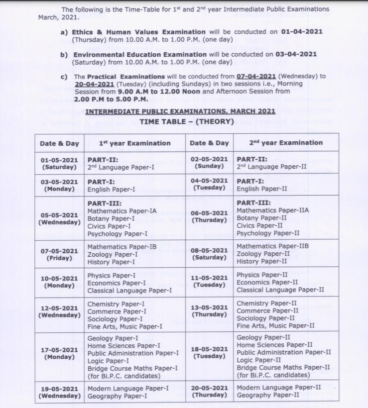 TSBIE Inter Exam Schedule 2021