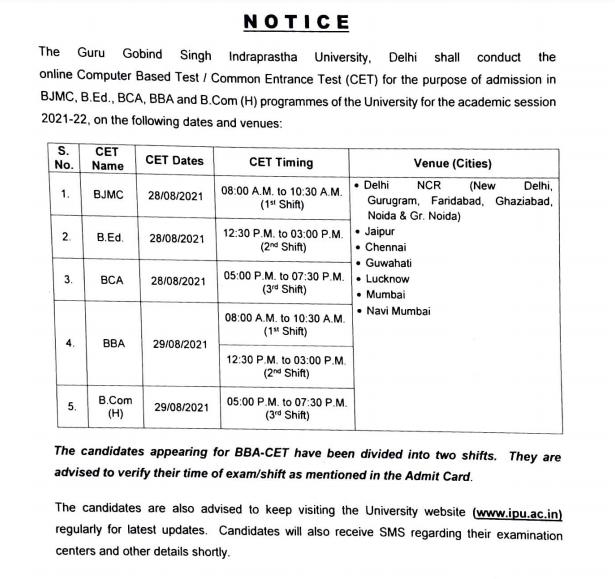 IPU-CET-Notice 2021